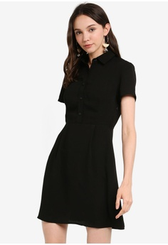 ced9ab50dc8793 ZALORA BASICS black Basic Pleated Shirt Dress 5FE95AAF1DDAF1GS_1