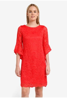 Coral Sleeve Detail Lace Dress