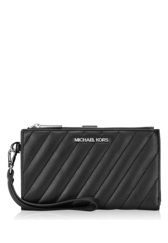 Michael Kors black Michael Kors Peyton Large Double Zip Wristlet Vegan Faux Leather (Silver Tone) - Black 65F21AC3EE55BEGS_1