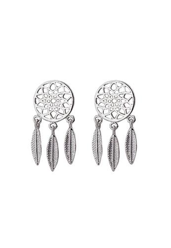Elfi silver Elfi Stainless Steel Dreamcatcher Ladies Fashion Stud Earrings EDD06AC8CC7A33GS_1