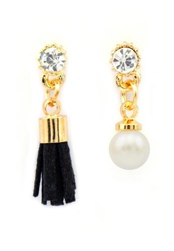 YOUNIQ gold YOUNIQ-Basic Korean Pearl & Tassel AB Earring (Black) YO999AC70TJLMY_1