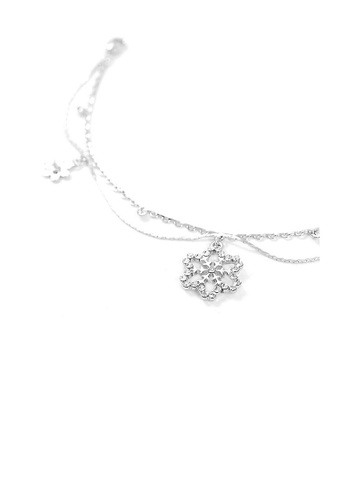 Glamorousky silver Snow and Flower Anklet with Silver Austrian Element Crystals 7461FAC10D972AGS_1
