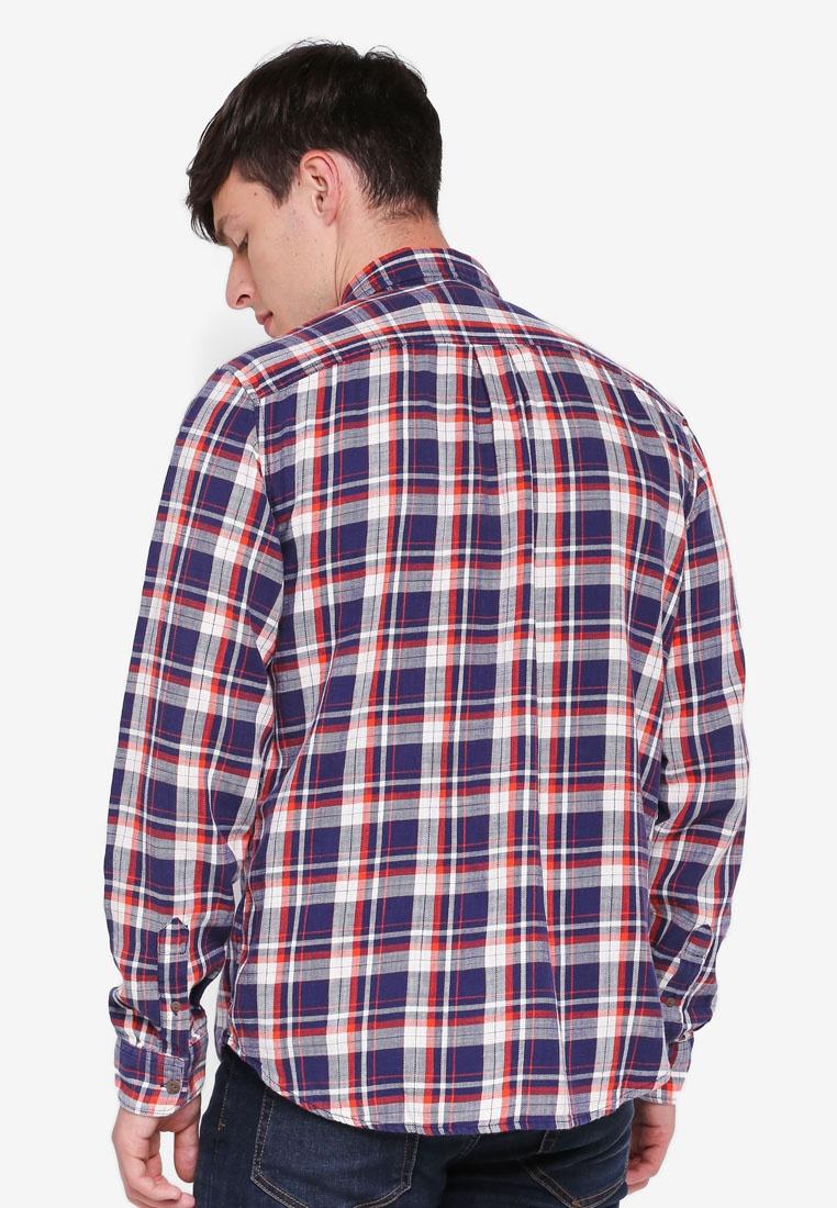 GAP Shirt Cotton Slub Twill Navy Plaid Fq7WOaw