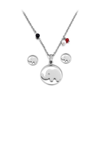 Glamorousky white Simple and Cute Elephant Geometric Round 316L Stainless Steel Necklace and Stud Earrings Set with Cubic Zirconia 430ADAC3891EBCGS_1