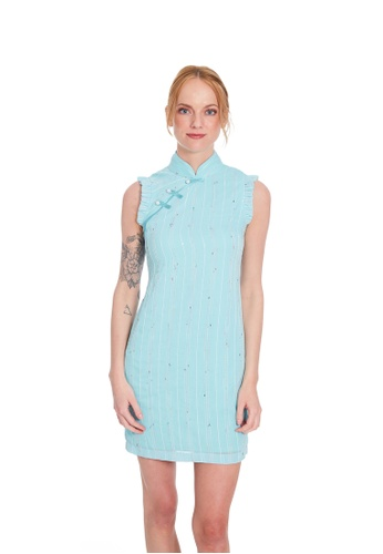 Theory Of Mine pink and blue Aleina  Embroider Dress 2D210AA6BAF237GS_1