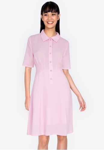 ZALORA BASICS pink Pleated Detail Dress 75503AA7417FE3GS_1