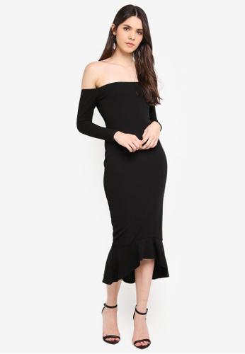 a492847aba51 Buy MISSGUIDED Long Sleeve Bardot Fishtail Midi Dress Online on ZALORA  Singapore