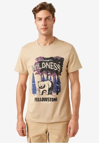 KOTON beige Graphic T-Shirt 96DE4AA4EE2ABCGS_1