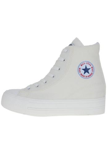 Maxstar 白色 新款韩国鞋C2時尚帆布布混合女白色 US Women Size MA345SH31HDOTW_1