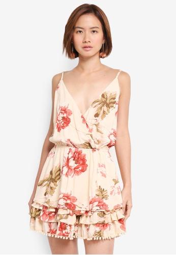 INDIKAH multi and beige Ruffle Hem Floral Dress 4390AAAAA0E40DGS_1