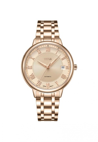 Solvil et Titus gold Exquisite Women's 3 Hands Date Automatic Watch in Rose Gold Dial and Stainless Steel Bracelet 21F7AAC07C7298GS_1
