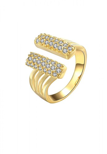 Glamorousky silver Fashionable Bright Plated Gold Geometric Cubic Zircon Adjustable Open Ring 7AED4AC997E66AGS_1