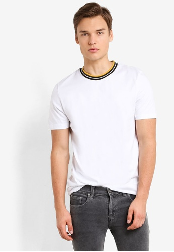 Topman white White Tipped Smart T-Shirt TO413AA93RASMY_1