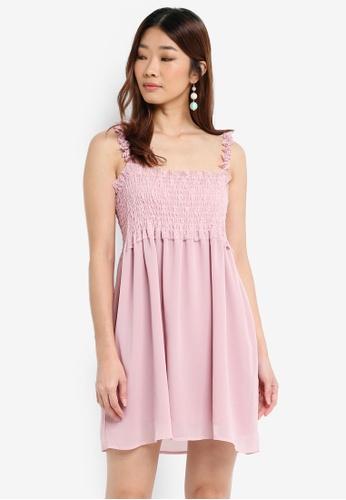 Something Borrowed pink Ruffle Strap Smocked Dress 2A5D1AAF5F0E9CGS_1