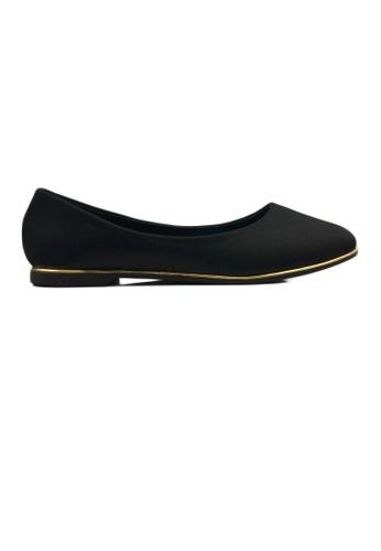 SHINE black Point Toe Satin Flats 16064SH400520CGS_1