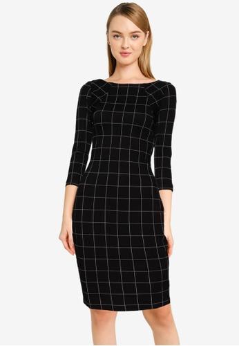 FORCAST black Mya Grid Pencil Dress EFBA0AA289B4A2GS_1