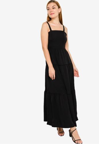 ZALORA BASICS black Square Neck Layered Maxi Dress 3E11FAA8A93E17GS_1