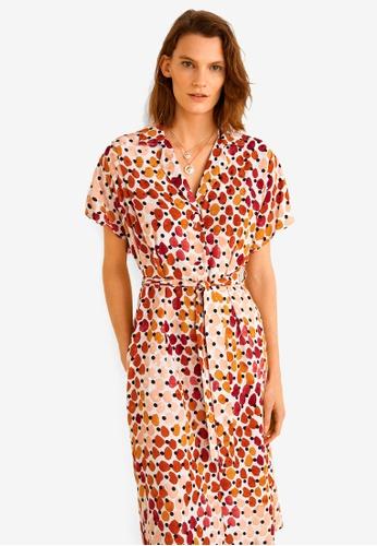Mango orange Printed Shirt Dress B9A06AA26A54B6GS_1