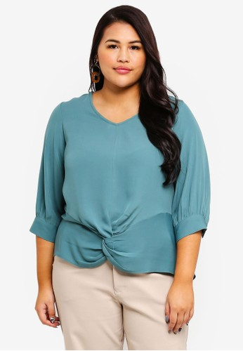 Ex'otico green Plus Size Long Sleeve Twisted Blouse 6BBDEAA893DAAEGS_1