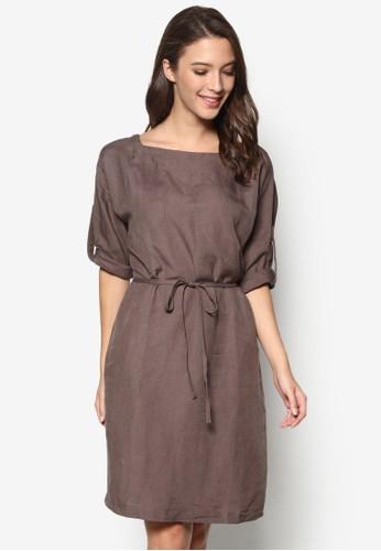 棉質腰帶直筒式洋裝, esprit outlet 桃園服飾, 洋裝
