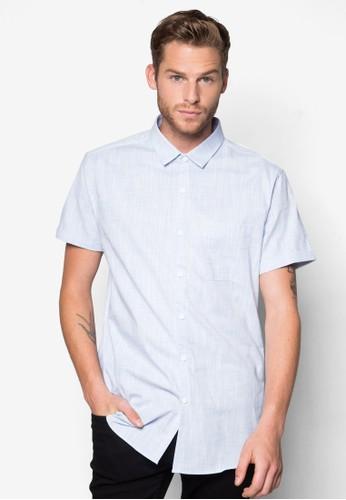 Blue Crossesprit香港分店 Hatch Texture Short Sleeve Smart Shirt, 服飾, 素色襯衫