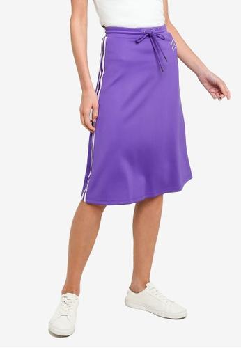 Hopeshow purple Elastic Waistband Sweat Skirt 19BBDAA0322A1AGS_1