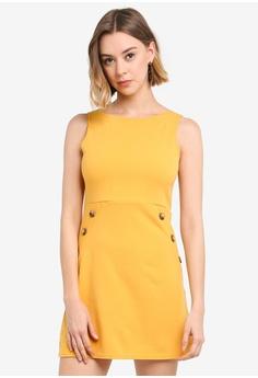 71294a2d75cf Boohoo yellow Petite Slash Neck Mock Horn Button Shift Dress  6B47BAA1B40FC8GS_1
