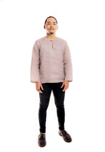 Assie Modesty grey and brown and beige Linen Kurta Teluk Belanga 73175AA66D5B95GS_1