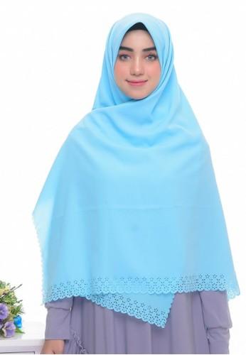 First Hijab blue Rania Square Hijab In Medium Blue 6AF53AA582A11AGS_1