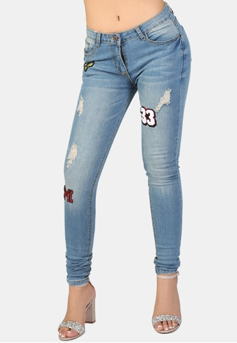 London Rag blue Ripped Jeans With Patch Work 9A0BDAAD7B7F70GS_1