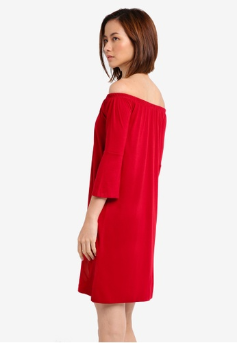35e08e3919d3b Shop ZALORA BASICS Essential Loose Off Shoulder Dress With Flared Sleeve  Online on ZALORA Philippines
