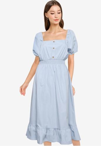 Cotton On blue Woven Everly Short Sleeve Midi Corset Dress 57DEFAA442D691GS_1