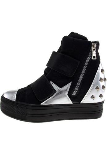 Maxstar 黑色 新款韩国鞋C2-Belt-TC時尚皮革布混合女黑銀色 US Women Size MA345SH28HDRTW_1