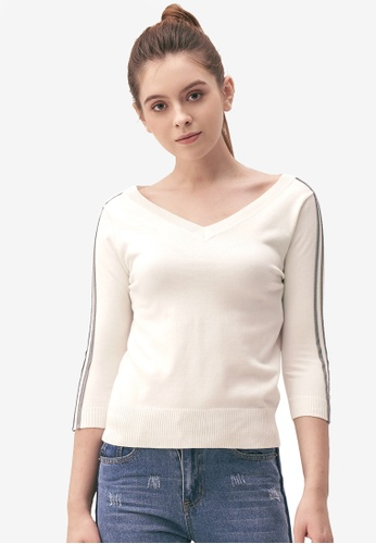 Kodz white Striped Sleeves V-Neck Top 5F327AA36859C1GS_1