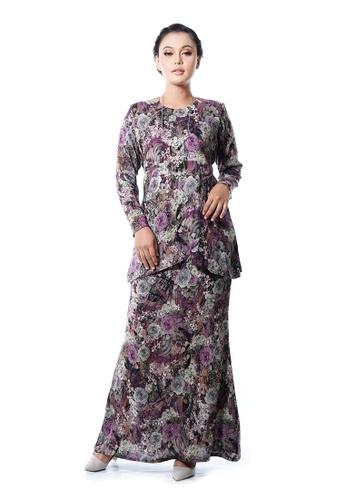 LARA NOUR purple and multi Baju Kurung Afifa B15FDAA0173E80GS_1
