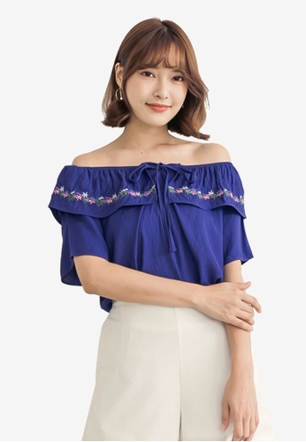 Tokichoi navy Floral Embroidered Off Shoulder Top 553C4AA60EF974GS_1