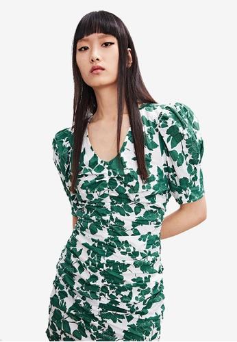 Urban Revivo green Floral Ruched Mini Dress D54C7AAB1E867DGS_1