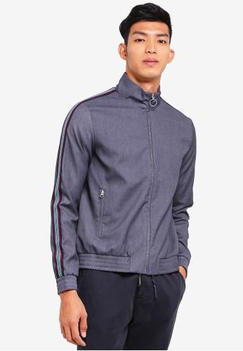 Topman grey Grey Melange Zip Through Jacket With Side Stripe B0DC3AA69F8025GS_1