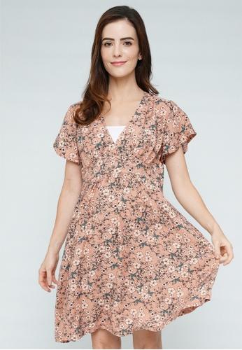 9months Maternity pink Pink Maternity Flutter Sleeve Dress 24284AA6E29F6DGS_1