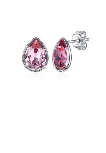 Glamorousky purple 925 Sterling Silver Simple Water Drop Shape Purple Austrian Element Crystal Stud Earrings CD13AACE0BE23FGS_1