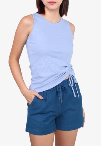 VOIR blue Drawstring Hem Shorts M.BLUE 3EDDBAA7755995GS_1