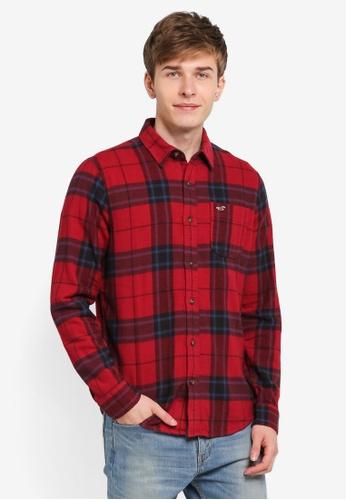 Hollister red Flannel Pattern Shirt HO422AA0SJPPMY_1