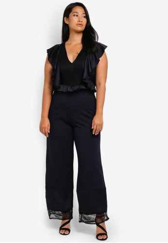 LOST INK PLUS navy Plus Size Jumpsuit With Lace Mix LO776AA0SZ4LMY_1