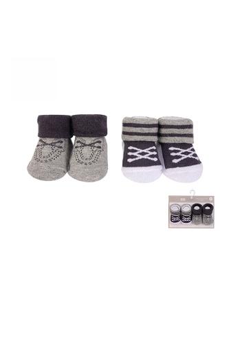 Little Kooma brown Baby Anti-slip Socks 2 Pair Pack 0-9 months BC71160 - 0805 E21C9KAA2ABF8FGS_1