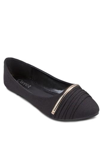 金屬條褶飾尖zalora 台灣頭平底鞋, 女鞋, 鞋