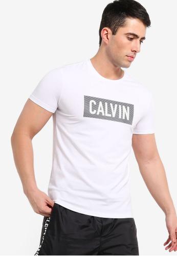 1210ecdad6 Calvin Klein white Institutional Box Mesh Logo Slim Tee - Calvin Klein Jeans  5D867AAC7ED4ABGS_1