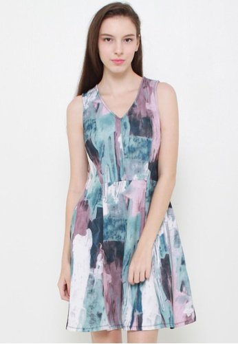 Leline Style blue Candis Abstract Dress LE802AA85GHASG_1