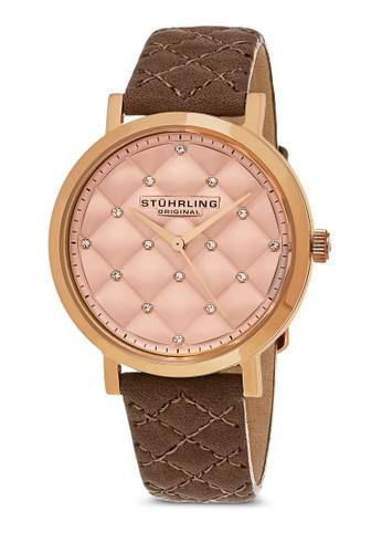 Audrey 閃鑽菱格紋圓錶, 錶類esprit 品牌, 皮革錶帶