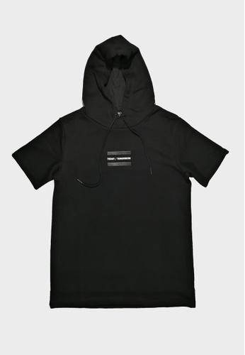 Hi Style black Short Sleeve Graphic Hoodie Sweatshirt 56A3FAAFE2E8F6GS_1