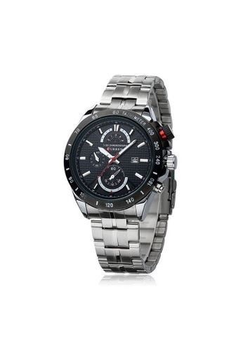 curren black and silver Curren 8148 Men's Military Stainless Steel Watch (Silver Black) CU537AC31SYQMY_1